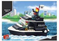 Policía patrulla barco bloquear barco modelo ciencia juguetes educativo plástico