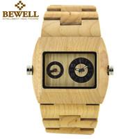 al por mayor doble horario del reloj-BEWELL Hombre Relojes Dual Time Zone Reloj Hombre de marca de lujo para Hombre Reloj de cuarzo Reloj de madera Reloj Relogio 021C
