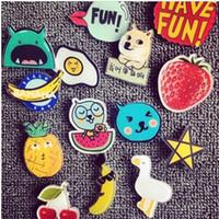 achat en gros de insigne vêtement-Cute Harajuku Badge Broche acrylique Pins Jewery Accessoires Figure Cartoon Simpson Batman 3.5cm-5cm broches tendance pour la décoration du vêtement
