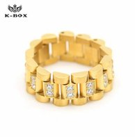 Wholesale 2017 spring Luxury Stainless Steel K Gold Plated Ice Out Lab Diamond Cut Ring Hiphop Mens Watchband President Style Band Ring men rings