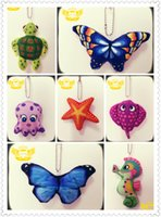 Wholesale Cute Butterfly Keychain - Plush Keychains Animals Keychain Cute Bag Keychain - morpho butterfly,stingray,octopus,starfish,turtle,seahorse,blue butterfly