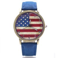 Luxury american wrist watch - Unisex Watches Casual American Flag Pattern Dial Quartz Wrist Watches
