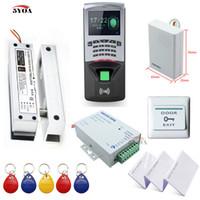 access control suppliers - Fingerprint RFID Access Control System Kit Frameless Glass Door Set Eletric Bolt Lock Card Keytab Power Supplier Button DoorBell