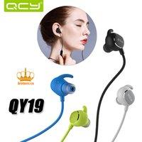 QCY QY19 voix anglaise casque bluetooth stéréo stéréo IPX4-rated écouteurs sports sans fil casque aptX pour tout téléphone