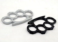 Wholesale 1PCS Siliver black thin steel brass knuckle dusters women s and men s self defense pendant protective gear by epacket