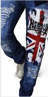 Wholesale Summer New Product Gentleman Personality Hole Printing Wash Straight Jeans Union Jack Full Length Blue Men Jeans Y7