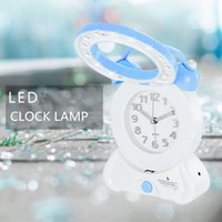 analog cordless - back to school gift adjustable Cordless wall clock lamp reading alarm clock desk night light
