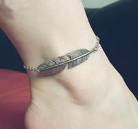 antic jewelry - 18 cm Tree Leaf Ankle Bracelet Vintage Europe Antic Gold Plating Leaf Shaped Foot Jewelry Anklet for Women Wedding Anklet