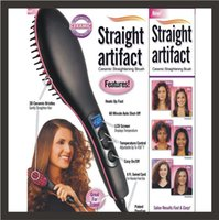 Wholesale Newest Hair Straightener Brush simply straight ceramic electric degital control antiscaled hair straightener brush comb with lcd display