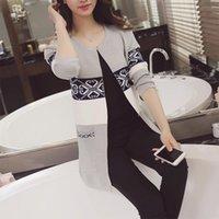 Wholesale Women Long Cardigan Autumn Winter Plus Size Korean Style Pocket Long Knitted Sweater Outwear Hot Selling