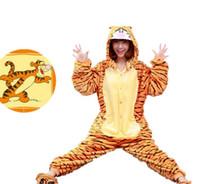 Anime Costumes animated pajamas - Women pajamas tigger stripe with hood animated cartoon cosplay lovely for men and women pajamas onesie