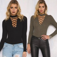 Wholesale 2017 New Arrival T Shirt Criss Cross Tie Up Women Sexy Ribbed T Shirt Summer Style Long Sleeve Tops Hollow Out Womens Top