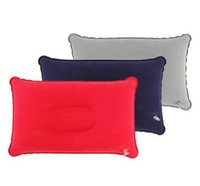 Wholesale Outdoor Portable Folding Air Inflatable Pillow Double Sided Flocking Cushion for Travel Plane Hotel Hot Worldwide