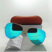 Gafas de sol de los hombres clásicos lente de cristal marco de metal gafas moda marca de diseñador de alta calidad unisex retro espejo gafas con caja de caja