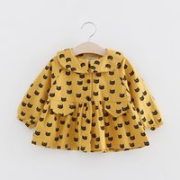 Wholesale Cute Little Girls Cat Print Trench Coats Spring Kids Boutique Clothing Korean Kids Clothes Supply Baby Girls Button Closure Outerwear