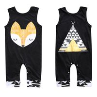 Boy animal pyramid - Toddler Summer Romper Fashion Fox Pyramid Printed One piece Clothes For Baby Infants Cotton Black Jumpsuits