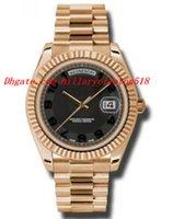 Relojes de lujo de primera calidad Day-Date II Negro Dial concéntrico 18K Everose Oro Presidente automático de los hombres reloj 218235BKCAP 41mm Mens Watch Wr