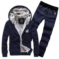 Wholesale Fashion Hot Suits Mens Hoodies Sports Casual Hat Coat Pants Sets Thick Winter Causal Suits Men Wool Comfortable Slim Sets