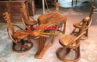 african wood furniture - Home table set in wood chairs pipa shape living room sets furniture chinese tradional tea table luxury african rosewood JY D001