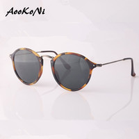 Wholesale AOOKONI New Arrival Top Quality Women Retro Round Sunglasses Men Brand Designer cat eye Fleck Tortoise Black Frame Green lens mm with case