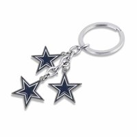 Wholesale Hot Sale Alloy With Enamel American Football Team Dallas Cowboys Logo Bag Charms Car Key Chain For Sport Fans Keyring Gift
