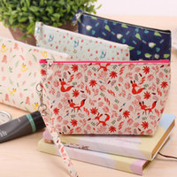big handbags for school - Kawaii Cat and fox school pencil case for girls Big capacity waterproof Leather stationery pouch handbag office school supplies