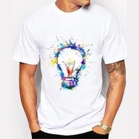 basics paints - New Color Painted Bulb T Shirt Men Summer Basic Tops Casual Short Sleeve T Shirt Men Boy cool camisetas hombre