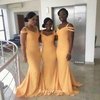 al por mayor criadas amarillo vestidos para la boda-Vestido amarillo barato barato del vestido de la dama de honor de la sirena del V-cuello La criada surafricana del vestido del honor Vestido del invitado de la boda Por encargo Tamaño más
