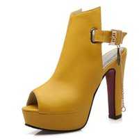 al por mayor amarillo peep toe talones-Zapatos Mujer Womens High Heels Bombas Primavera Peep Toe Gladiator Shoes Cadenas Femeninas Sequined Tacones Altos Zapatos Plataforma Amarillo 43
