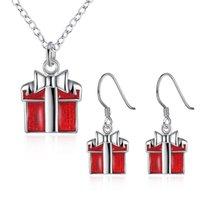 antique enamel box - SZYC Earrings Necklace Set Red ENAMEL Gift Box Shape EARRINGS Antique Silver Fishhook Ear Wire