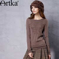 artka fashion - Artka Women s Winter New Colors All match Soft Sweater Vintage O Neck Long Sleeve Pullover Comfy Knitwear YB17355Q