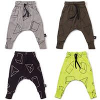 Wholesale Kids clothing Pant geometric trousers Dimond Harem Pants Print Boys girl nununu Waist string spring autumn Hotsale gray black green