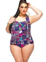 2017 plus maillot de bain imprimé deux pièces de bain de gland uk ladies halter haute taille bikini filles nager usure Livraison gratuite