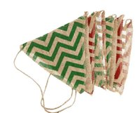 Wholesale Burlap Rustic Retro Waves Stripes Linen Bunting Banner Flags Garland Xmas Wedding Birthday Party background Wall Hanging decorations