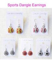 Wholesale Dangle Earring Softball Baseball Football Basketball Volleyball Soccer Bowling Skating Rhinestone Crystal Bling for Girls Sports