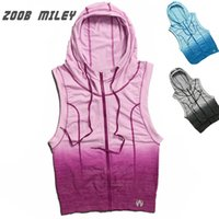 Wholesale ZOOB MILEY Women Running Sports Hoodies Jackets Sleeveless Gradient Color Gym Fitness Vest Coats Super Elastic Tight Tank Tops