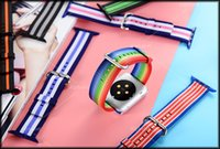 Wholesale For iWatch Woven Nylon Bands Straps Casual Sport Watch Band Work For Apple Watch Strap Wrist Bracelet Connector Mounted for mm Color