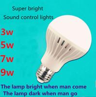 Wholesale YNL LED PIR Motion Sensor Lamp E27 v Led Bulb w w w w White Auto Smart PIR Infrared Body Sound Motion Sensor Light SKD1