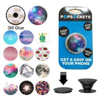 Wholesale Universal PopSockets Expanding Stand and Grip for Smartphones and Tablets Flexible Mobile Phone Holder Mount Chakra Marble Mandala stents