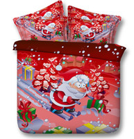 Wholesale Cartoon Father Christmas D Bedding Sets Cotton Fabric Set Duvet Cases Pillow Covers Flat Bed Sheet Home Textiles King Queen