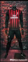 athletic windbreaker - Benwon AC Milan home long sleeve soccer uniform thai quality football kits adult s athletic sports set men outdoor soccer track