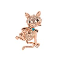 artificial enamel - 100pcs Womens Brooch Pin Jewelry Cute Lovely Cats Design with Artificial Crystals and Clear Rhinestones