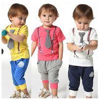 american cut suit - Whosale Baby summer Outfits Children Summer Toddler Cotton Letter T shirt pants clothes set kids Summer tie cut sport suit