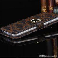 achat en gros de rhinestone case-Portefeuille de luxe de Bling de diamant de portefeuille de PU de cuir de cellules de cas de Rhinestone de pli de carte de crédit de couverture de pli pour iphone7 / 7plus 6 6Splus 5S Samsung