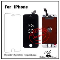 Wholesale Best AAA For iPhone S LCD Digitizer Touch Screen Panels full Assembly with Ear dust mesh and camera ring White Black shipping from USA