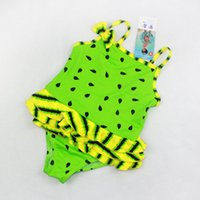 One-piece Girl Children's Day bikini swimsuit for kids girl swimwear baby girl swimming sundress red yellow green watermelon 3styles