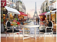 Wholesale d wallpaper custom photo non woven mural wall sticker picture d The Eiffel Tower street painting wallpaper for walls d