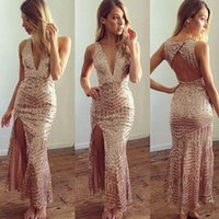 Wholesale 2017 Rose Gold Sexy Deep V Neck Mermaid Party Dresses Split Side Ankle Length Backless Prom Gowns Cheap