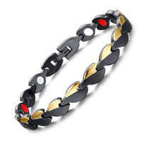 Wholesale 2016 New Fashion jewelry Stainless Steel Bracelet Black and Gold Exquisite Polished Health Care Antifatigue Radiation protection Jewelry