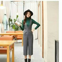 Wholesale Qiu dong with thick cloth nine points wide legged pants easy leisure trousers straight v neck jumpsuits women suspenders trousers